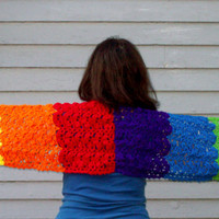 Rainbow Crochet Prayer Shawl Women's  Handmade Wrap Comforting Shawl