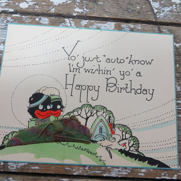 Black Americana Birthday Card Black Memorabilia Postcard Vintage Birthday Card Sambo Card Automobile Card