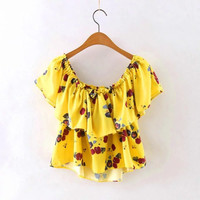Yellow Cold Shouder Floral Print  Frilled Layered Crop Top