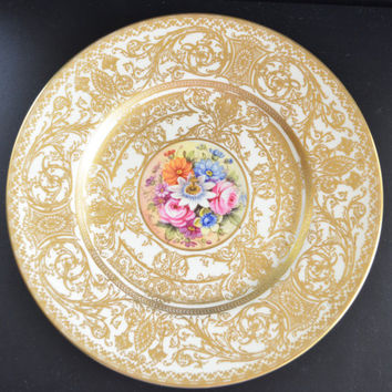 Artist Signed Freeman Royal Worcester Plate Porcelain Charger Gold and Floral Decor Black Stamp