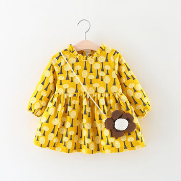 Girls Cotton Dress 2017 Brand Spring Casual Style Girls Clothes Long Sleeve Dresses Children Clothing Kids Clothes