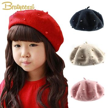 Fashion Wool Baby Hats with Pearls Candy Color Retro Baby Girl Beret Cap for 3-8 Years 1PC