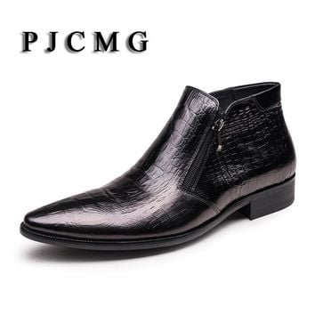 PJCMG Fashion Black /Red Wine Breathable Zip Genuine Leather Pointed Toe Oxford Classic Business Office Formal Ankle Men Boots