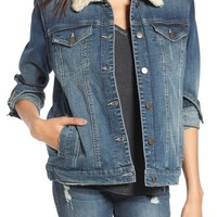 BP. Faux Shearling Collar Denim Jacket | Nordstrom