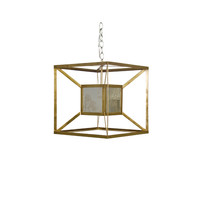 Worlds Away Maxwell Gold Iron Box Pendant With Antique Mirror