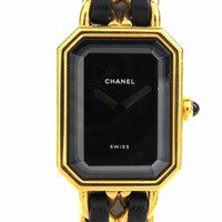CHANEL Premiere leather belt Black Steel Wrist Watch