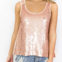 Houston Peach Chiffon Sequined Blouse