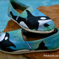 Magnificent Orca Whales custom TOMS -ADULT