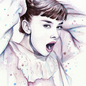 Audrey Hepburn Purple Scream-Watercolor Painting, Art Fashion Watercolor, Illustration, Giclee Print, Beautiful
