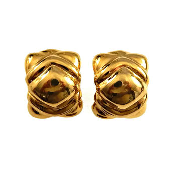 Givenchy Big Bold Clip On Earrings Domed Gold Tone