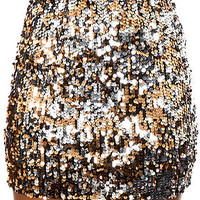 The Party On Forever Sequin Mini Skirt in Gold