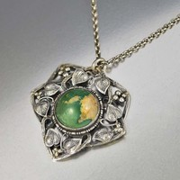 Arts & Crafts Silver Ivy Natural Turquoise Necklace