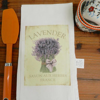 Lavender Flour Sack Tea Towel French Script Lavender Decorative Kitchen Towel Hostess Gift