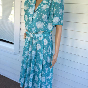 80s Print Dress Casual California Looks Petite M L Vintage