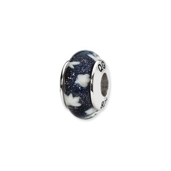 Blue, White Stars Hand-Blown Glass Bead & Sterling Silver Charm, 13mm
