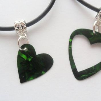 Green guitar pick necklace his and her's heart set, heart best friends set | eBay