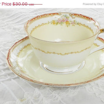 On Sale Antique Noritake Rosina Footed Tea Cup and Matching Saucer, Cottage Style, Elegant Tea Party, Ca. 1933