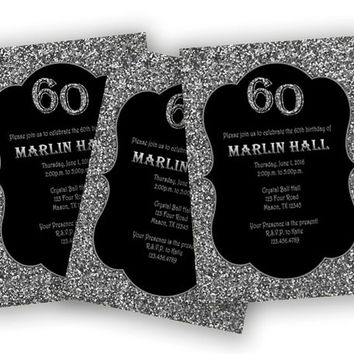 Silver Adult Birthday Party Invitation - Silvery Glitter Milestone Invites - 90th - 70th - 60th - 50th - 40th - Surprise - Man - Woman - 80