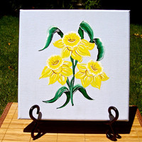 Yellow Daffodils On Blue Canvas Painting Wall Art