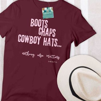 Boots Chaps and Cowboy Hats Women's Graphic Tee
