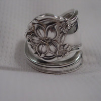 A Spoon Rings Plus Beautiful Wrapped Spoon Ring Size 9 1/2 Orange Blossom Pattern Antique Spoon Jewelry t222