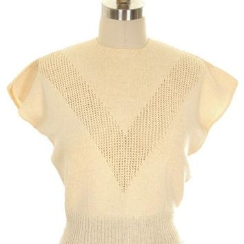 Vintage Ladies Sweater Hand Knit Rayon Warm Cream Neat Openwork 1950s Small