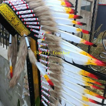 Free shipping 36inches high Indian Feather headdress handmade indian war bonnet halloween costumes indian chief headdress