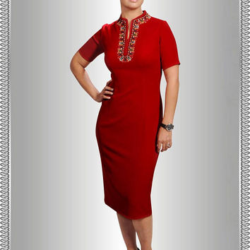 Dazzling Red Dress/Mandarin Collar/Embroidered Dress/Office Dress/Summer Dress/Knee Length Dress/Midi Dress/Business Casual/Dress For Women