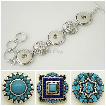 Small fitting Snap bracelet and 3 snap charms that are interchangeable with Ginger Snaps Jewelry or Noosa jewelry.