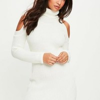Missguided - White Cold Shoulder Sweater Dress