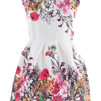White Graphic Floral Print Sleeveless Mini Dress