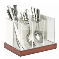 8.125W x 5.625D x 6H Luxe Flatware Organizer White Metal/Copper Base
