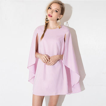 Pink Cape Sleeve Loose Dovetail Chiffon A-Line Mini Dress