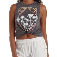 Charcoal Knotted Palm Tree Graphic Muscle Tee by Charlotte Russe