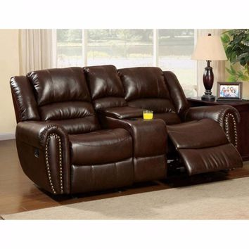 Bonded Leather Loveseat Recliner with Center Console, Dark Brown