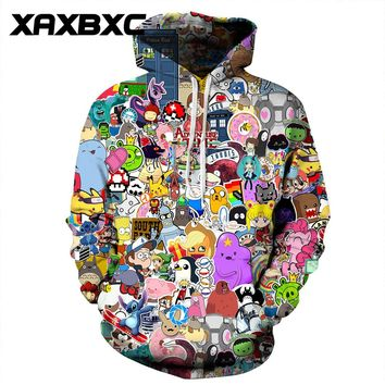 New 074 Comics Adventure time Pokemon Totoro Printed Women Jacket Hooded Femme Sweatshirt Casual Loose Men Pocket Hoodies Coat