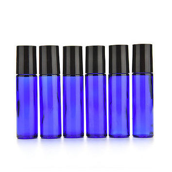6x Bottles Cobalt Blue 1/3 oz, 10 ml Glass Roll On Bottle With Black Cap Roller