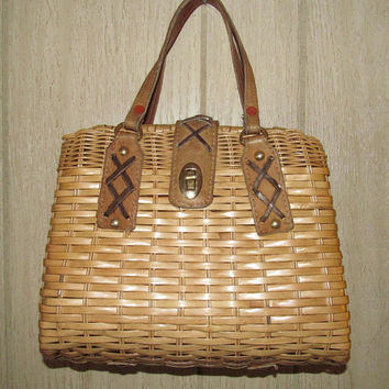 Wicker purse made in Hong Kong vintage 1950s