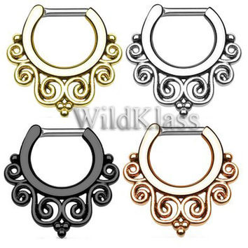 Rose Gold Tribal Swirls IP 316L Surgical Steel Septum Clicker 16g Earring 14g Cartilage Piercing Tragus Ring Helix Conch Nose Septum Ring