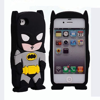 Universal Trading Black 3D Batman Pattern Soft Silicone Case Cover For iPhone 5 5G