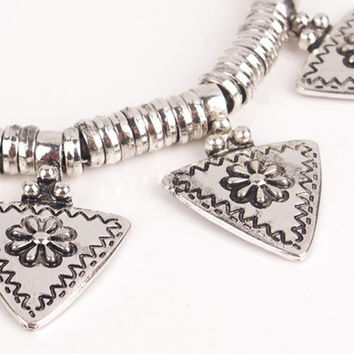 Boho Antique Silver Triangle Pendant Necklace