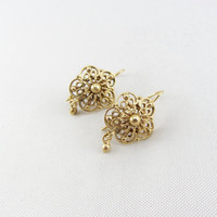 Vintage Victorian Revival 14K Gold Filigree Flower Earrings Art Deco Era Yellow Gold Pierced Earring Fine Jewelry