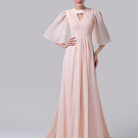Light Pink Beaded Cut-out Empire Waist Bell Sleeves Flounce Evening Dress