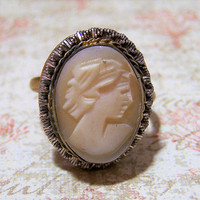 Edwardian Carved Shell Cameo Ring, Size 7, Gold Filled, Twisted Silver Tone Wire Border,  Sentimental Romantic Jewelry 118