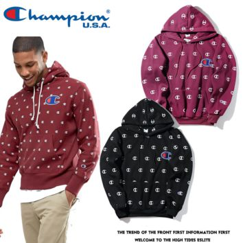 Champion Fashion Casual Print Long Sleeve Cotton Top Sweater Pullover