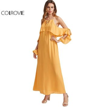 Colrovie V Notch Maxi Beach Dress 2017 Yellow Tie Neck Flounce Trim Women Summer Dresses Casual Y Back Truffle Chiffon Dress - Beauty Ticks