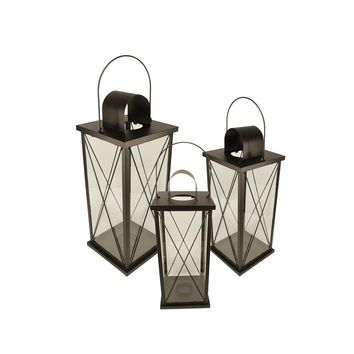 Set of 3 Black Cottage Style Pillar and Tea Light Candle Holder Lanterns 22.5""