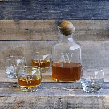 5-piece Personalized Glass Decanter with Wood Stopper Set (Color: Clear)