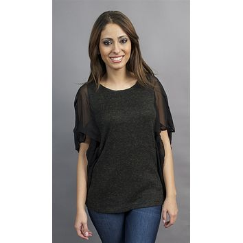 Aryn K. Sheer Black Flutter Sleeve Tunic with Ribbed Fabric