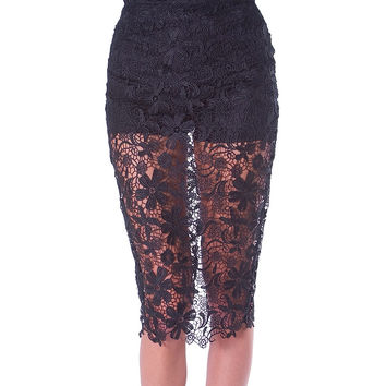 Signature Lace Pencil Skirt - Black